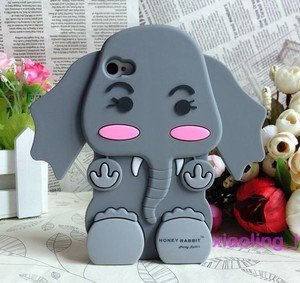 *Animal* 3D Grey Tiny Baby Elephant Silicone Back Cases/Cover for iphone 4 4S