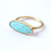 Gold Turquoise Ring - Oval Turquoise Ring - 18k Solid Gold