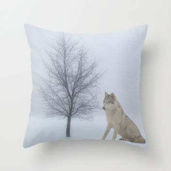 wolf Throw Pillow by Haroulita