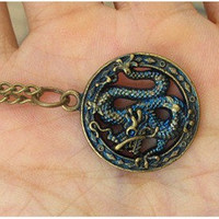 retro steampunk Chinese dragon necklace