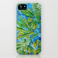 LAKE LOVE - Beautiful Relaxing Turquoise Blue Green Seaweed Chic Decor Gift for Him Acrylic Painting iPhone Case by EbiEmporium | Society6