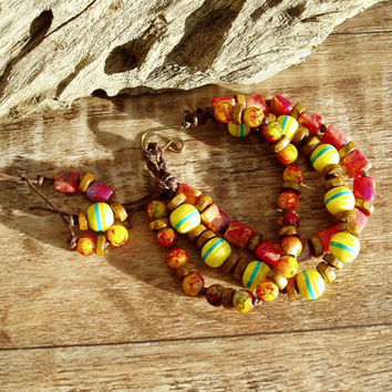 Bright bold and fun handmade bracelet  beaded knotted bracelet boho jewellery stylish colourful