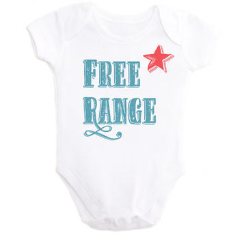 Free Range Bodysuit OnePiece Baby Outfit Free Range Shirt with wording and Red Star Baby Toddler Long Sleeve Short Sleeve or Sleeveless Tank