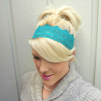 Dark teal stretch lace headband feminine/romantic/classic