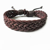 Bangle leather bracelet women bracelet girls bracelet woven bracelet made of brown hemp ropes woven wrist bracelet  SH-1597