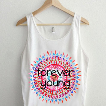 forever young  Casual Wear Sporty Cool Tank top Funny Tank Cute Direct to garment