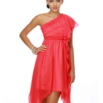 Iris of the Beholder One Shoulder Coral Dress