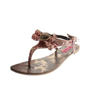 Betsey Johnson Womens Brrite Sequined Thong T-Strap Sandals