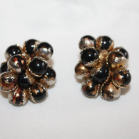 Vintage Amber Cluster Chunky Clip on  Earrings 1950s Jewelry