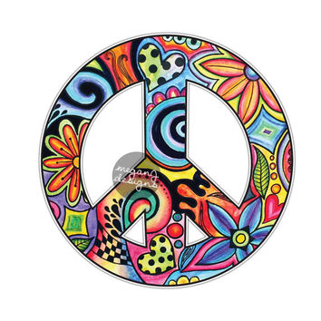 Hippie Peace Sign Sticker - Colorful Flower Car Decal Peace Symbol Laptop Decal Vinyl Bumper Sticker Hippie Cute Car Sticker Watercolor Art
