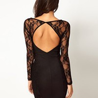 ASOS Mini Dress with Lace Sleeve at asos.com