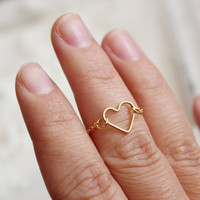 gold heart ring  - gold heart above knuckle ring-gold heart dainty ring