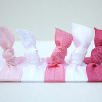 Pink Hair Ties (5) - Emi Jay Like Elastic Hair Ties - Pink Hair Bands - No Tangle Hair Ties - Pink Ribbon Ponytails - Pink Accessories