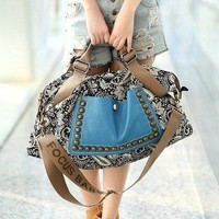 Ethnic Style Rivets and Splice Design Women's Tote Bag