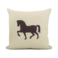Horse pillow case - Chocolate brown horse print on natural canvas front and printed houndstooth back - 16x16 decorative pillow cover