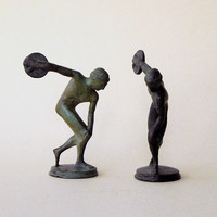 Bronze Discobolus Statue - Greek Discus Thrower - Small