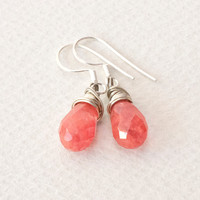 Earrings - Strawberry Quartz Wire-wrapped Earrings