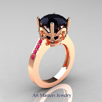 Classic Blazer 14K Rose Gold 3.0 Carat Black Diamond Pink Sapphire Solitaire Wedding Ring R301-14KRGPSBD