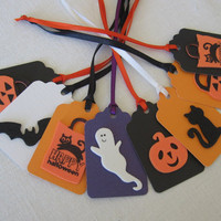 Halloween Gift Tags Set of 8 Ghost, Bat, Cat, Pumpkin, Treat Sack Halloween Gift Tags