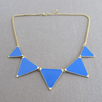 on sale /triangle shiny necklace/ blue /bubble statement necklace/ bib necklace statement necklace  pendant necklace