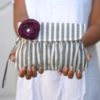 Winter Wedding Grey and White Stripe Pleated Pouch, Wristlet Clutch, Linen Purse with Purple Sateen flower
