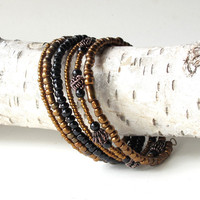Stacking bead bracelets - metallic beaded copper & black bangles - 6 in one