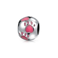 Bling Jewelry Pink Heart Paws Bead