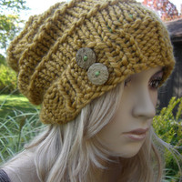 Gold Mustard Yellow Boho Slouchy Hand Knit Oversized Ribbed Woodsy Beanie Hat With Wood Buttons