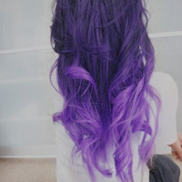 "22"", Ombre Hair Extensions//DipDye//Dark Brown Hair with dark to light purple Fade//(7) Piece Set"
