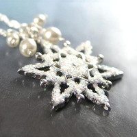 Silver Snowflake Necklace Sterling Silver Chain Snow  White Crystal Pearl Necklace  Winter Snowflake Pendant