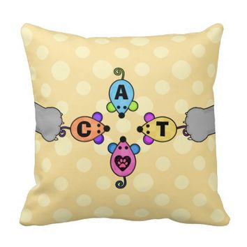 Whimsical Toy Mice and Cat Lover Pillow