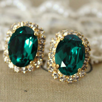Green Emerald color Crystal big oval stud earring - 14k plated gold post earrings real swarovski rhinestones .