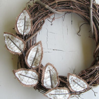 Fabric Leaf Wreath - Burlap Brown Linen Antique Handwriting Script