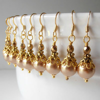 Bridesmaid Jewelry Pale Gold Pearl Earrings Beaded Dangles Champagne Pearls in Gold Wedding Jewelry Bridesmaid Earrings