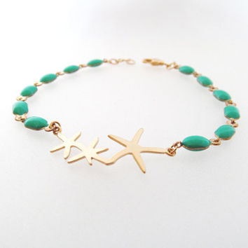 starfish bracelet in gold and turquoise ocean beach jewelry