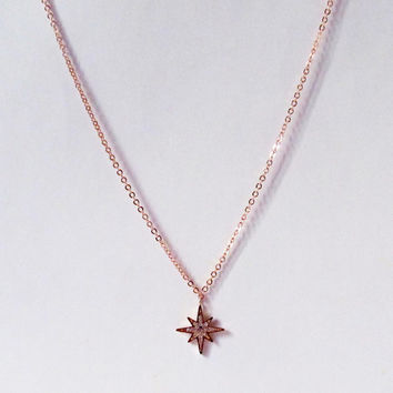rose gold star cz necklace, elegant rose gold cubic zircon star jewelry