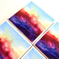 Ombre Watercolor Tile Coasters, Purple Red Abstract Art, Ceramic Drink Table Set