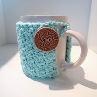 Coffee mug cozy in aqua, small