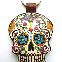 Leather keychain / bag charm - Sugar Skull