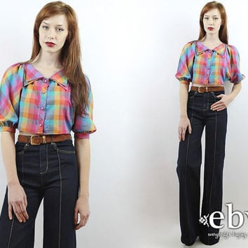 Vintage 90s Rainbow Plaid Crop Top S M L Cropped Top Midriff Top Cropped Shirt Cropped Blouse Crop Blouse Plaid Shirt Plaid Top Summer Top