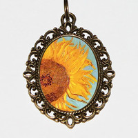 Sunflower Necklace, Van Gogh, Sunflowers, Sunflower Jewelry, Oval Pendant