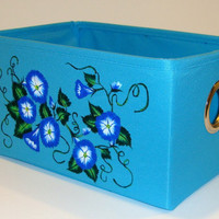 Blue Multi Use Storage Tote With Cobalt Flowers