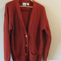 Rust Colored Slouchy-Fit Wool Cardigan OS