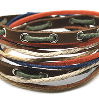Hand-woven ethnic leather hemp bracelet BD4