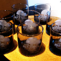 vintage smoke gray mushroom low ball drinking glasses. mushroom decor. set of 8