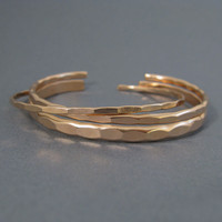 3 Ophelia stacking cuffs in wide, medium, and thin, custom size rose gold fill bangle cuffs