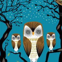 Three Lazy Owls Art Print by Oliver Lake | Society6