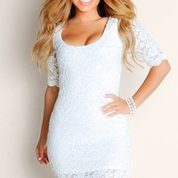 All White Love Me Tender Sheer Solid Color Lacey Half Sleeve Club Dress
