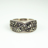 Vintage Judith Jack Sterling Marcasite Ring