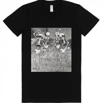 Spooky Scary Skeletons-Unisex Black T-Shirt